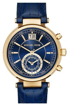 MICHAEL Michael Kors 'Sawyer' Leather Strap Watch, 39mm available at #Nordstrom