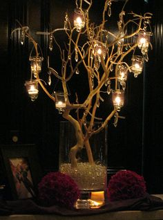 votive tree - candlelight and crystals  http://classicdiybride.blogspot.com/