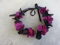 Dark Purple and Black Floral Headband/ Flower by DevineBlooms