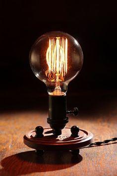 Items similar to Nostalgic Edison Bulb - Industrial - Steampunk - Globe Style Vintage - Light - Lamp - Coffee Table on Etsy Edison Lamp, Edison Lighting, Outdoor Lighting, Pendant Lighting, Steampunk Lamp, Wooden Lamp, Wooden Desk, Lamp Bulb, Vintage Lighting