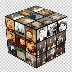 "This is the family history photo cube idea I am working on.  I still plan to do the family photos to flash cards and then write the ancestors story on the back of the cards. I believe that someday the grandchildren will appreciate ""my love of genealogy and their heritage"" ♥"