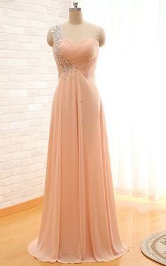 Peach Sleeveless Pleated Beading A Line One Shoulder Chiffon Floor Length Long Prom Dress