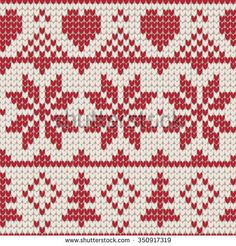 Christmas knitting seamless pattern with stars and Christmas trees and hearts. Perfect for wrapping paper, web page background, Christmas and New Year greeting cards.