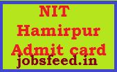 NIT Hamirpur Technical Assistant Admit Card 2014 Download NIT Hamirpur Hall Ticket