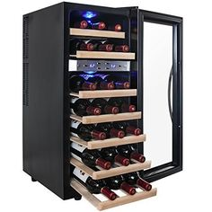 AKDY 21 Bottle Dual Zone Thermoelectric Freestanding Wine Cooler Cellar Chiller Refrigerator Fridge Quiet Operation with Wooden Shevles *** You can get additional details at the image link.