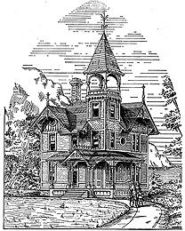 Cottage house plans for a small Victorian style house. These house plans feature a house of 26 x 26 feet. It will be noticed that one chimney serves for communication with every room in the house, thereby securing the greatest economy in heat as well as in construction.