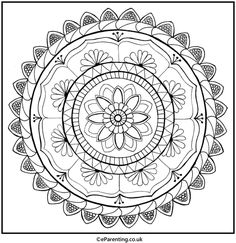 A hand-drawn mandala colouring picture for you to print - enjoy! Mandala Coloring, Colouring Pages, Coloring Pictures For Kids, Best Trampoline, Adult Coloring, Free Printables, Activities For Kids, How To Draw Hands, Waves