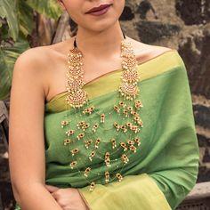 Designer Statement Necklace Set Layered Gold Motifs With Pathakam Green Kemp Stone Neckpiece India Jewelry, Temple Jewellery, Gold Jewelry, Bridal Jewelry, Anklet Jewelry, Tiffany Jewelry, Bohemian Jewelry, Stone Jewelry, Pearl Jewelry