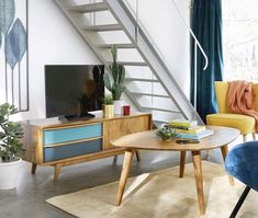 Mobile TV 2 cassetti in mango blu e grigio Janeiro Furniture, Wood Tv Unit, Affordable Furniture, Tv Shelf Unit, Scandinavian Style Sideboard, Coffee Table Vintage, Armchair Vintage, Home Decor, Mango Wood
