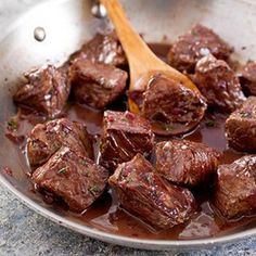Steak Tips with Red Wine Sauce Recipe - Key Ingredient (This one needs allergen substitutes: Substitute butter for dairy & soy free butter alternative. Make sure your vegetable oil is not soybean oil or use a different cooking oil. Check the beef broth to make sure it has no allergens added to it before purchasing)