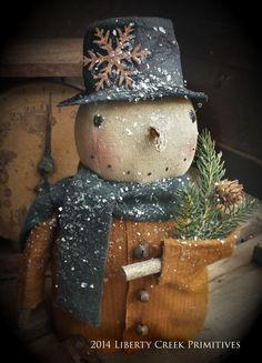 Primitive handmade Snowman Mustard Coat by liberty creek primitives on Etsy