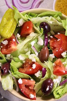 Lettuce, kalamata olives, feta cheese, purple onion, tomatoes and an oil based dressing make this salad so delicious. This Panera Bread's Replica version can be made at home with as amazing r…