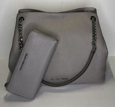 9b3555f60c66 Michael Kors Jet Set Item Large Chain Tote Bundled Wallet Grey Saffiano  Leather Shoulder Bag. Tradesy