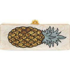 EDIE PARKER Flavia pineapple box clutch ($1,675) ❤ liked on Polyvore featuring bags, handbags, clutches, kiss clasp purse, box clutch, kiss-lock handbags, hardcase clutch and lucite box clutch