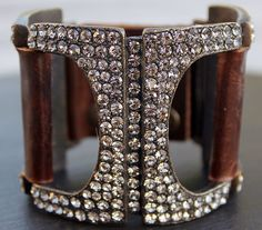Vintage Leather & Crystals Bracelet. Strap with 2 positions with antiqued brass stud fastening. Stunning bracelets made with vintage leather, antiqued brass and crystals. Glamour with just a hint of rock and roll! Wonderful as day or evening wear and we always receive compliments wherever we go!