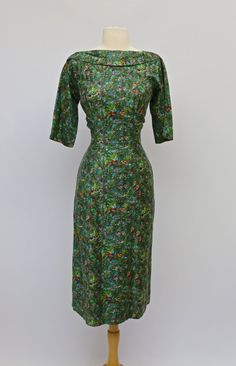 Vintage 1950s Cotton Wiggle Dress By R&K - Vintage 50s Holly and the Ivy Print Green Wiggle Dress ~ Waist 29 by xtabayvintage on Etsy