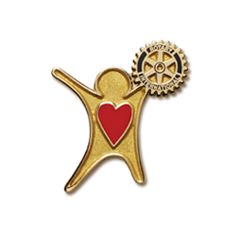 Russell-Hampton Co. Rotary Club Supplies: Gold Finish Sharing The Heart Of Rotary Lapel Pin