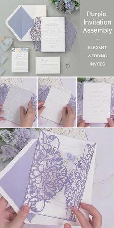 purple laser cut wedding invitation customization #EWI #weddinginvitations #purple