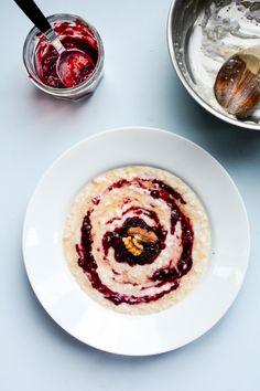 Coconut & Blackberry Porridge with Honey & Nuts