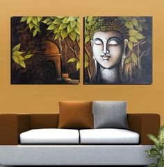 Print Asia Beautiful Buddha Meditation in a Forest Canvas Oil Painting Print with Wooden Mounting cm) -Set of 2 Budha Painting, Kerala Mural Painting, Ganesha Painting, Indian Art Paintings, Cool Paintings, Oil Painting On Canvas, Painting Prints, Budha Art, Small Canvas Art