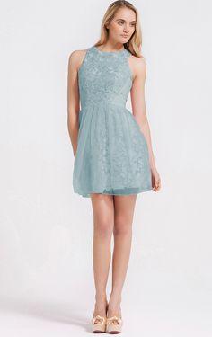 6e9af5f85bf0 Jewel Short Lace Natural Lace A-line Bridesmaid Dresses