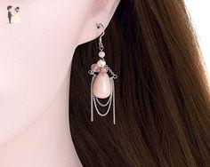 Baby Pink Jade Drop Earrings,Pearls gemstone Dangle Earrings, Gemstone Clusters, Rhodium Plated 925 sterling silver Dangle Earrings - Wedding earings (*Amazon Partner-Link)