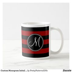 Shop Custom Monogram Initial Red Black Stripes Coffee Mug created by PrettyPatternsGifts. Initial Coffee Mugs, Personalized Coffee Mugs, White Coffee Mugs, Monogram Initials, Custom Mugs, Classic White, Black Stripes, Tea Cups, Ceramics
