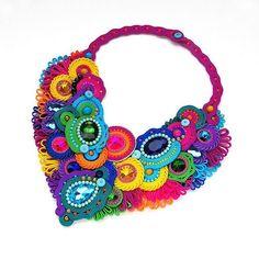 soutache kolorowy naszyjnik samba