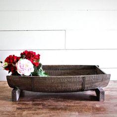 Rustic Wood Half Barrel Tray