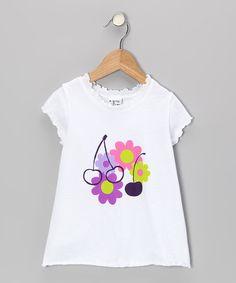 White Peri Cherry Lettuce-Edge Tee - Infant, Toddler & Girls
