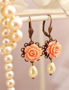 Peach rose and pearl dangle earrings, pearl drop earrings, romantic earrings, feminine jewelry. €10.00, via Etsy.