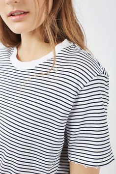This breton striped with nibbling detail is a fashion essential for casual-cool dressing. We love it with ripped jeans and white trainers for a tomboy chic look. #Topshop