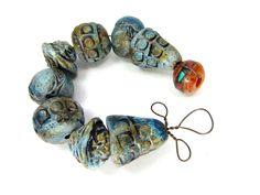 Blue Rustic Metallic Ceramic Art Beads - Artisan Round Clay Beads No. 19 - pinned by pin4etsy.com