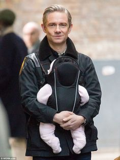 It's Daddy Watson! Martin Freeman was spotted filming scenes for the new series of Sherlock in London's Borough Market on Tuesday