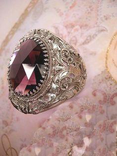 HUGE Gothic Amethyst GLass medieval Bracelet by vintagesparkles, $175.00