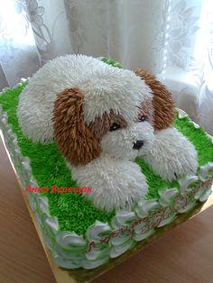Cake with lemon crown - HQ Recipes Unique Cakes, Creative Cakes, Fancy Cakes, Cute Cakes, Dog Cakes, Cupcake Cakes, Cake Original, Puppy Birthday Cakes, Bolo Diy