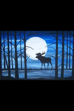 "24"" by 36"" by 1.5"" acrylic painting "" midnight moose"" beautiful colors, thick frame , ready to hang!"