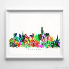 Bangkok, Thailand Watercolor Skyline Wall Art Poster - Prices from $9.95 - Click Photo for Details - #skyline #watercolor #cityscape #wallartposter #Bangkok #Thailand