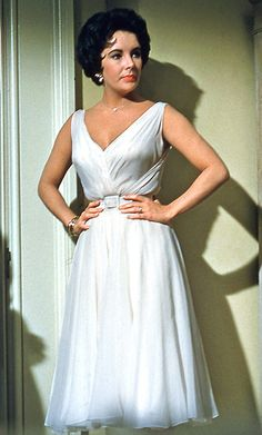 """Helen Rose's most famous chiffon dress was created for Elizabeth Taylor in """"Cat On A Hot Tin Roof"""" 1958 Hollywood Fashion, Hollywood Costume, Hollywood Glamour, Hollywood Dress, Helen Rose, White Cocktail Dress, White Dress, Iconic Dresses, Amazing Dresses"""