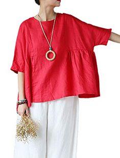 Mordenmiss Women's Linen Half Sleeve Round Neck Top Blouses Red