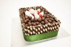 Layer cake with chocolate wafer stick and dipped strawberry, umm yummmmy #food and drink