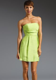 SHOSHANNA Douppioni Slub Marine Dress in Electric Lime at Revolve Clothing - Free Shipping!