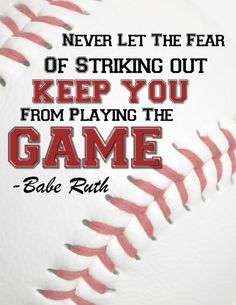 Boy's Print/Room Art/Baseball Art/Don't Let the Fear of stricking out/Babe Ruth on Etsy, $3.99