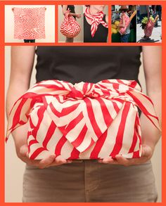 DIY: Make your own Furoshiki (Japanese wrapping cloth). One Furoshiki can be used as a table cloth, picnic mat, scarf, gift wrap or as a carrying bag.