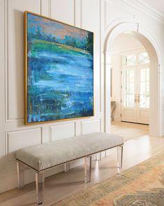 Gran paisaje abstracto pintura al óleo, arte de la lona. Hecho a mano por Rosa de Jackson, azul, amarillo, marrón, verde, luz, etc. - Celine Ziang arte