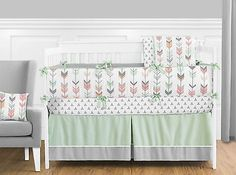 Coral Mint Green White Pink Gray Modern Arrow Newborn Girl Baby Bedding Crib Set