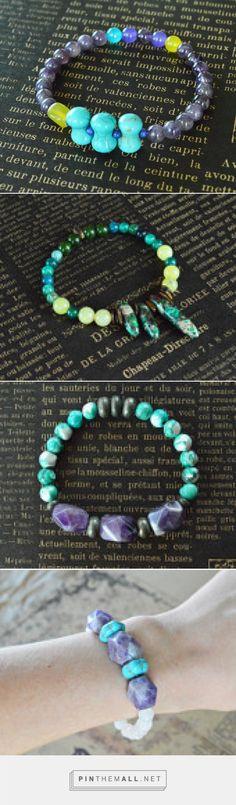 Modern Stretch Gemstone Bracelet Collection by adrienneadelle Bold and bright colored gemstone stretch bracelets on Etsy. www.etsy.com/shop/adrienneadelle Turquoise, Pink, Blue, Purple, White, Amethyst, Pyrite, Green, Jasper