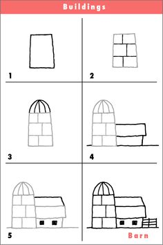 Fun step by step cartoon drawings and videos by children's book illustrator, rich davis. drawing a barn Drawing Videos For Kids, Easy Drawings For Kids, Drawing Lessons, Drawing Techniques, Art Clipart, Image Clipart, Cartoon Drawing Tutorial, Cartoon Girl Drawing, Cartoon Girls