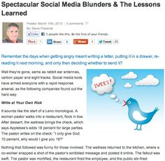 Learn from these stunning social media blunders. http://anniejenningspr.com/jenningswire/specialty/spectacular-social-media-blunders-the-lessons-learned/