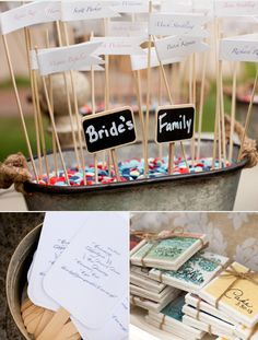We love the little DIY touches at this wedding - like this fun place card holder.